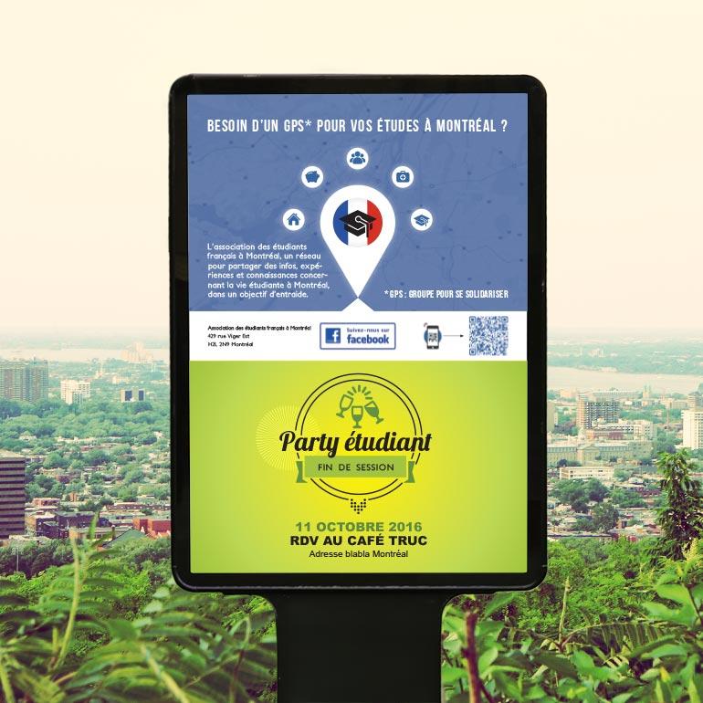 Affiche modulable pour l'association des étudiants français à Montréal