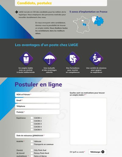 Page candidats LMGE avec formulaire
