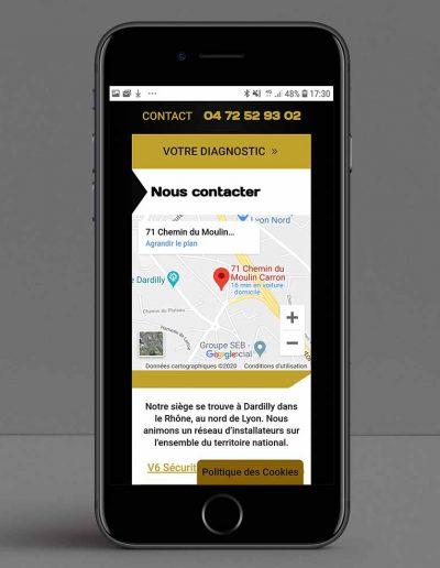 Design page contact mobile entreprise V6 sécurité