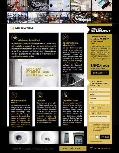 Création site internet page sécurité des commerces